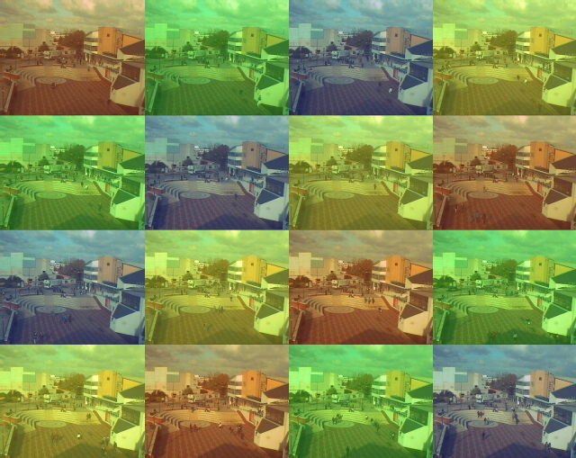 Images from University webcam. 5 second intervals with colour masks.