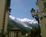 Chamonix looking up to Mont Blanc