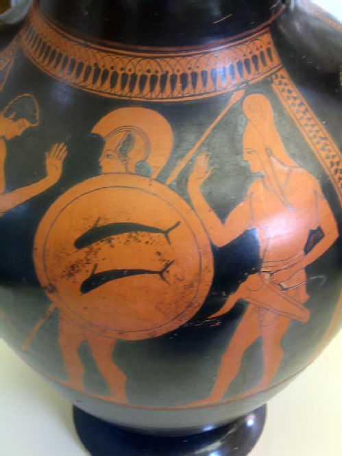greek vase depicting hoplite warrior with dolphin shield