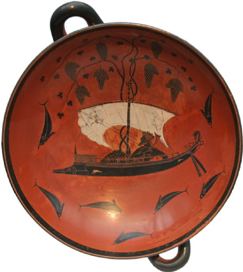 : Plate showing Dionysus sailing surrounded by dolphins.