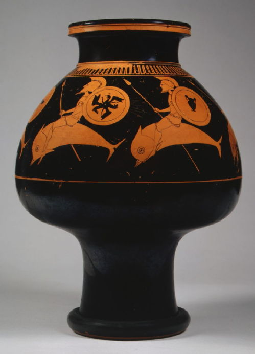 vase showing hoplites riding dolphins