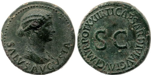 coin showing livia