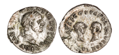 silver coin showing Vespasian Titus and Domitian