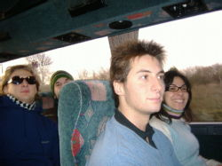 on the bus: Matteo, me, Gioia and Giorgio