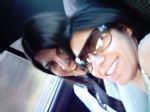 In the car: Gioia and Erica