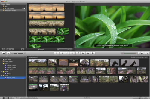 Screenshot of iMovie 09
