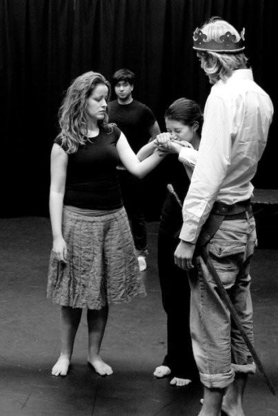 Anna Henderson (Isabella), Genevieve Raghu (Prince Edward), Matthew Goad (King Edward) and Sam Smith (Spencer)