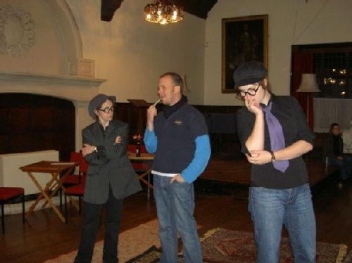 Kristin Hall (Tranio), John Conod (Gremio) and Sarah Wingo (Lucentio)