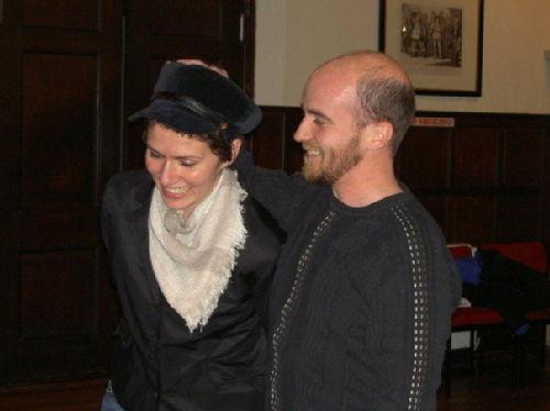 Adrienne Shevchuk (Grumio) and Brian Willis (Petruchio)