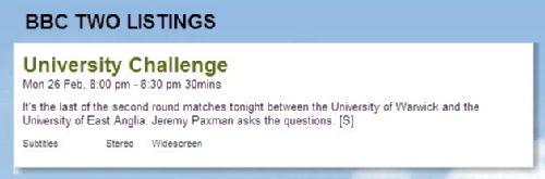 University Challenge 2nd round on BBC2