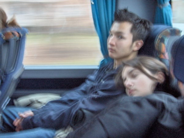 Bulga and Irmak sleeping on the way there at 7am