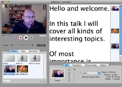 A screen grab of videocue