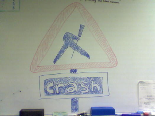 Crash Logo, in whiteboard marker