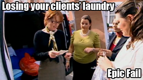 Losing your clients' laundry: Epic Fail