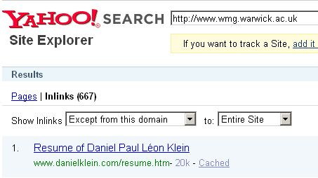 Yahoo SiteExplorer