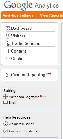Google Analytics showing Advanced Segments abd Custom Reports