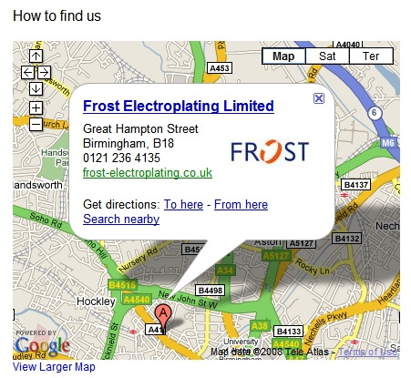 Location of Frost Electroplating in Birmingham