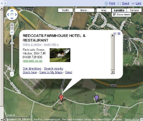 Redcoats Farmhouse Hotel Location Map