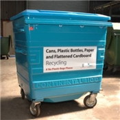 blue recycling bins for all recycling