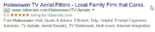 Five Gold Stars on Google Adwords