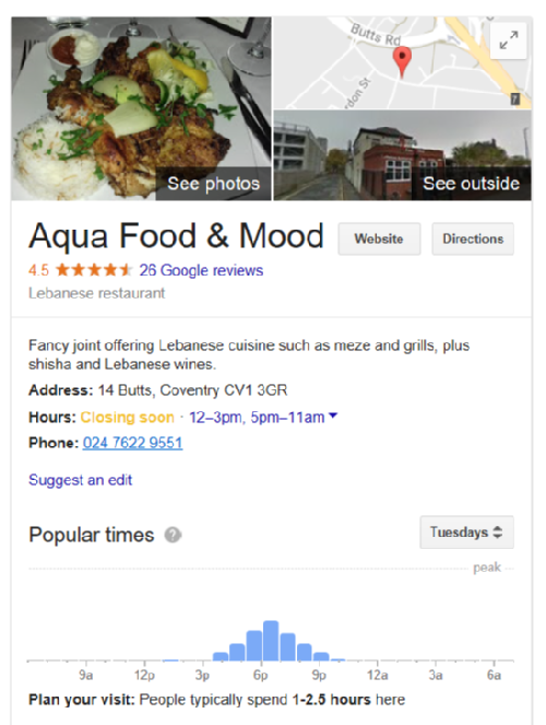 Google+ listing for Aqua Restaurant, Coventry
