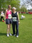 1 Me and Emily - our very first half marathon in Stratford!