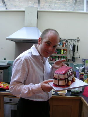 Adam with bus cake
