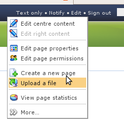"""First, click """"Upload"""" from the edit dropdown"""
