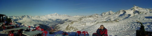 View from the restaurant at the top of the Roche de Mio, La Plagne, France