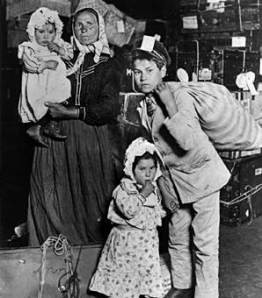 A Female Italian migrant with her children