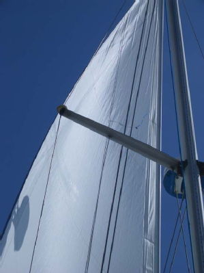 The genoa filling under a light breeze; the mainsail hadn't been hoisted yet.