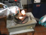 Pouring molten glass
