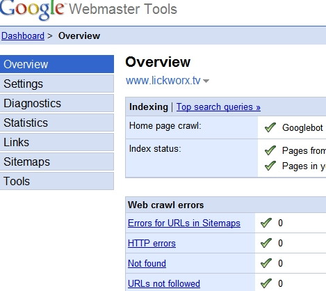 Google Webmaster Tools Site Overview Panel