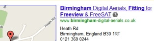 Local listing top on Google for Birmingham Digital Aerials