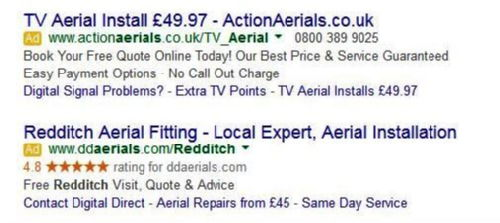 Redditch Ad with Gold Stars advertisor reviews