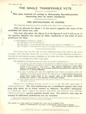 Proportional representation leaflet
