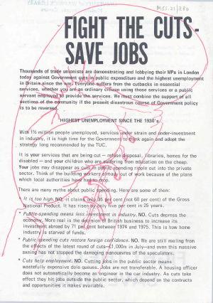 Anti-cuts handbill