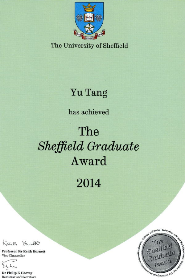 the Sheffield Graduate Award 2014 (Counting to Higher Education Achievement Report, HEAR UK)