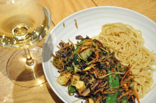 pasta with some fried vegetables