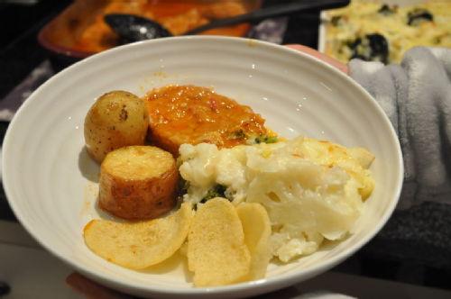 the pork chop & potato & chips & brocoli